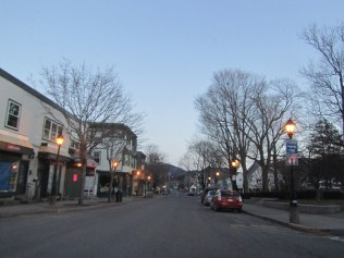 Bar Harbor village at dusk. Town can be very quiet during the late fall, winter, and early spring.
