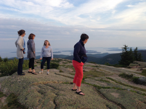 Yvonne and island educators on Cadillac Mountain