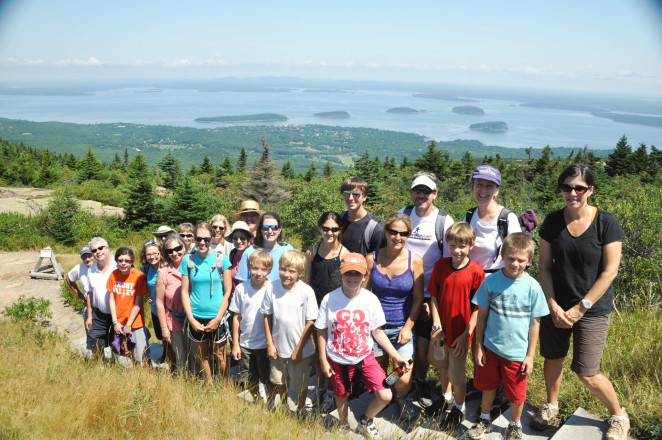Family Nature Camp hike to the top of Cadillac Mountain.
