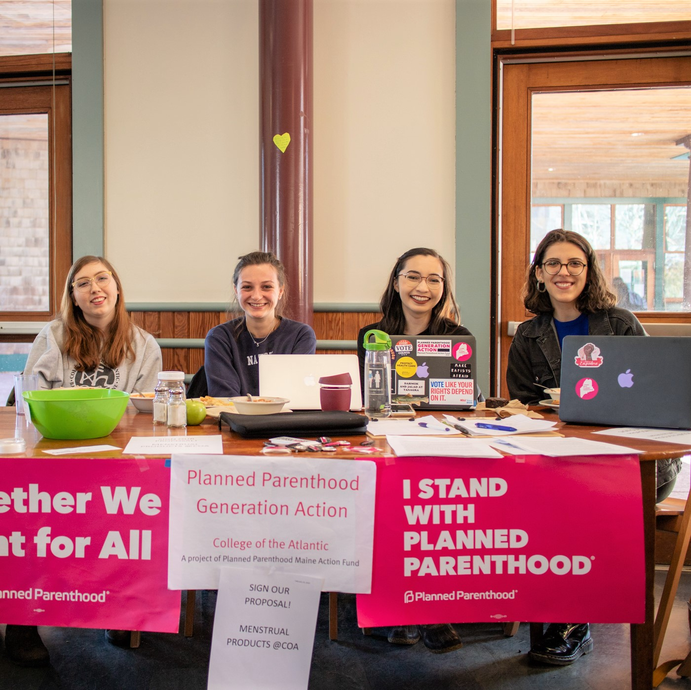 Members of the College of the Atlantic chapter of Planned Parenthood Generation Action collect signatures for a policy proposal that would provide menstrual products in bathrooms across campus. COA All College Meeting is due to vote on the proposal at the beginning of spring term! . . #campuslife #plannedparenthood #socialactivism #equity #studentlife #collegeoftheatlantic #collegestudent #sustainability #socialjustice #selfdirectededucation #coolschool #maine #barharbor #photocred: Yoi Ashida '20/COA News @ppact @ppmeaf @ppgenaction_coa