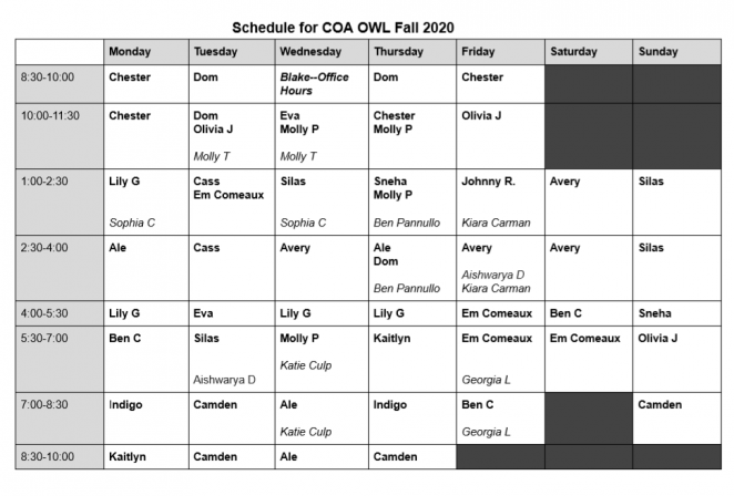 Fall 2020 Tutor Schedule