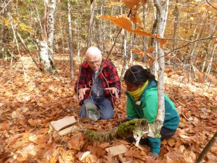 Professor Fred Olday (L) and student Chitra Shanmuga (R) during a lichen collecting trip.