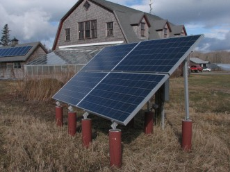Ground-mounted solar panels at Beech Hill Farm in Mount Desert installed as part of the COA Practicum in Renewable Energy course.