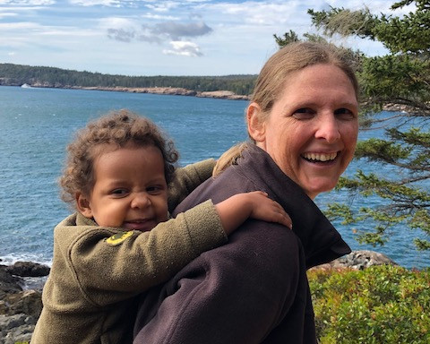 Susan and Willow at Great Head, Acadia National Park.