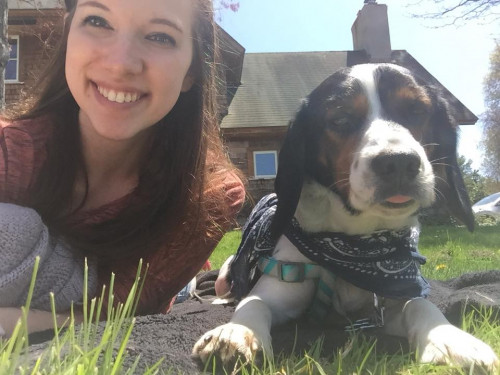 Me and my dog Max who lives on campus with me.